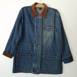 Vtg zipped up corduroy denim utility jean jacket